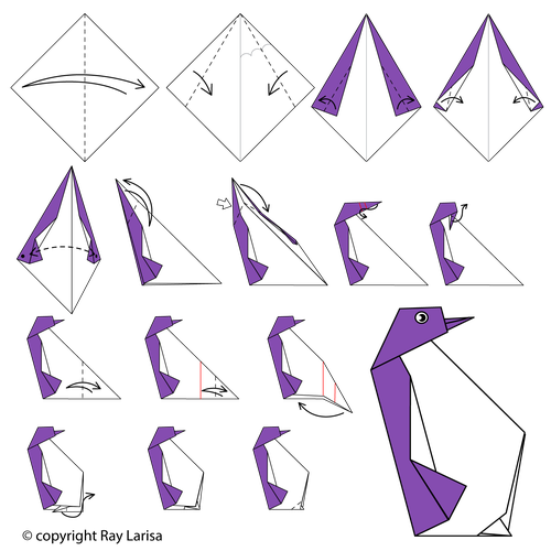 Origami Penguins - Page 1 of 4 | Gilad's Origami Page | 500x500